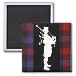 Scottish Bagpiper 2 Inch Square Magnet