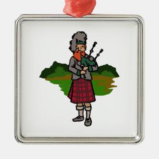 Scottish Bagpiper Metal Ornament