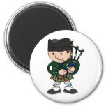 Scottish bagpiper playing bagpipes 2 inch round magnet