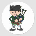 Scottish bagpiper playing bagpipes sticker