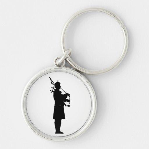 Scottish Bagpiper Silhouette Keychain