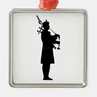 Scottish Bagpiper Silhouette Metal Ornament
