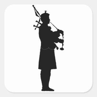 Scottish Bagpiper Silhouette Square Sticker