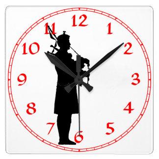 Scottish Bagpiper Silhouette Square Wall Clock