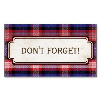 Scottish Blue Clan Plaid Tartan Business Card Magnet