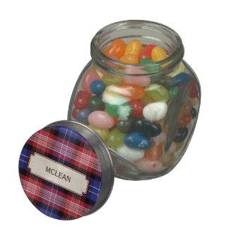Scottish Blue Clan Plaid Tartan Glass Candy Jars