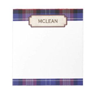 Scottish Blue Clan Plaid Tartan Notepad