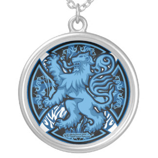 Scottish Blue Cross Silver Plated Necklace