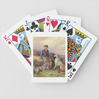 Scottish boy with wolfhounds in a Highland landsca Bicycle Playing Cards