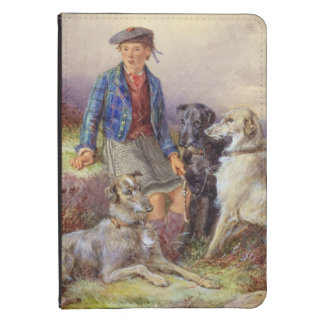 Scottish boy with wolfhounds in a Highland landsca Kindle 4 Cover