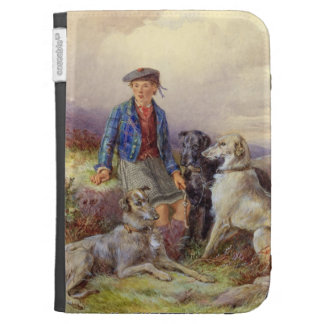 Scottish boy with wolfhounds in a Highland landsca Kindle 3G Cases