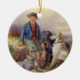 Scottish boy with wolfhounds in a Highland landsca Ceramic Ornament