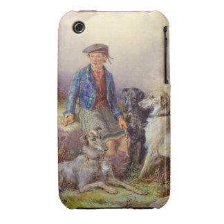 Scottish boy with wolfhounds in a Highland landsca iPhone 3 Case-Mate Cases