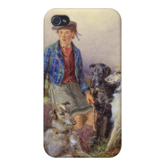 Scottish boy with wolfhounds in a Highland landsca iPhone 4 Case