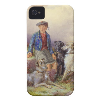Scottish boy with wolfhounds in a Highland landsca iPhone 4 Case-Mate Cases