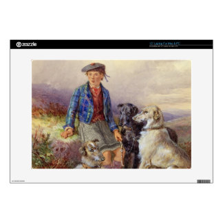 Scottish boy with wolfhounds in a Highland landsca Laptop Decal