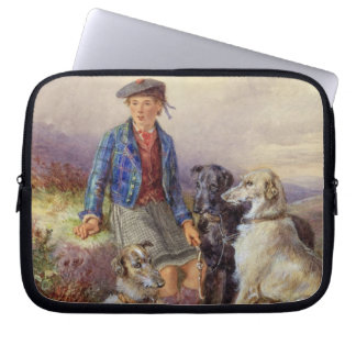 Scottish boy with wolfhounds in a Highland landsca Laptop Computer Sleeve