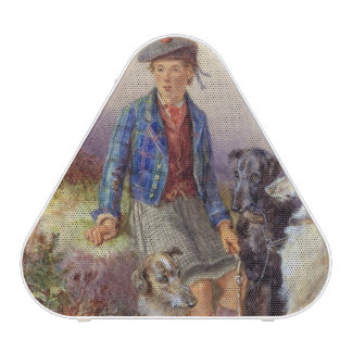 Scottish boy with wolfhounds in a Highland landsca Bluetooth Speaker