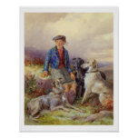 Scottish boy with wolfhounds in a Highland landsca Poster
