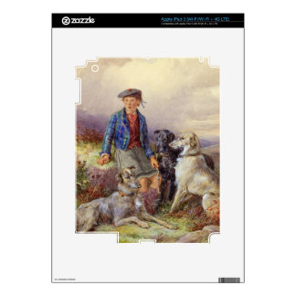 Scottish boy with wolfhounds in a Highland landsca iPad 3 Decal