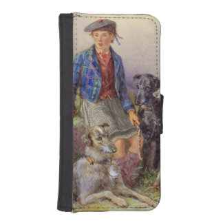 Scottish boy with wolfhounds in a Highland landsca Wallet Phone Case For iPhone SE/5/5s