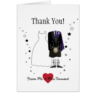 Scottish Bride & Groom kilt Wedding Thank You Card