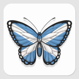 Scottish Butterfly Flag Square Sticker