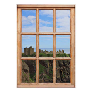 Scottish Castle by the Ocean View from a Window Poster