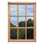 Scottish Castle on Cliff View from a Window Poster
