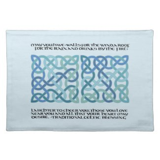 Scottish Celtic Blessing Calligraphy with knotwork Cloth Placemat