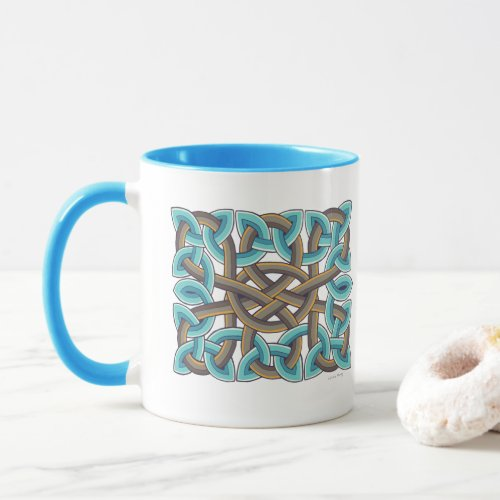 Scottish Celtic Knot Painting in Blue and Brown
