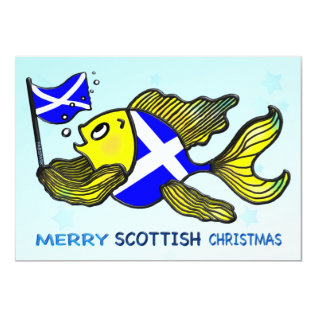 SCOTTISH CHRISTMAS PARTY INVITATION fish toon flag at Zazzle