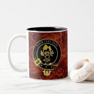 Scottish Clan Crest Rose Thistle Burl Pattern Two-Tone Coffee Mug