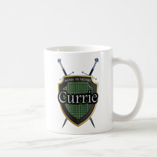 Scottish Clan Currie Tartan Shield & Swords Coffee Mug