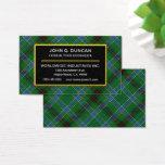 Scottish Clan DuncanTartan Plaid Business Card