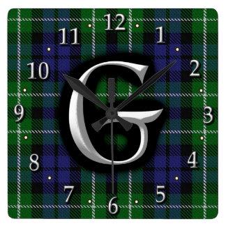 Scottish Clan Graham Letter G Monogram Clan Tartan Square Wall Clock