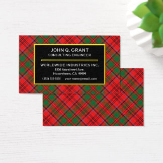 Scottish Clan Grant Tartan Plaid Business Card