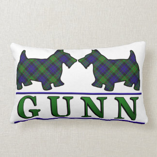 Scottish Clan Gunn Tartan Scottie Dogs Throw Pillow
