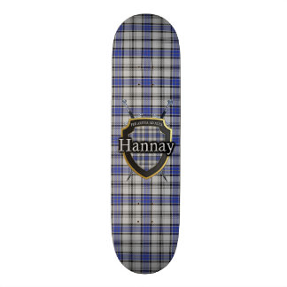 Scottish Clan Hannay Tartan Shield Skateboard