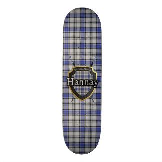 Scottish Clan Hannay Tartan Shield Skateboard