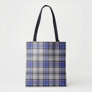 Scottish Clan Hannay White Blue Tartan Plaid Tote Bag
