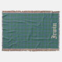Scottish Clan Irwin Tartan with name 2 Throw Blanket