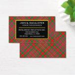 Scottish Clan MacAlister Tartan Plaid Business Card