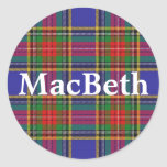 Scottish Clan MacBeth Tartan Plaid Classic Round Sticker