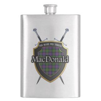 Scottish Clan MacDonald Tartan Shield and Swords Hip Flask
