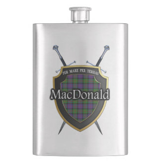 Scottish Clan MacDonald Tartan Shield and Swords Hip Flask