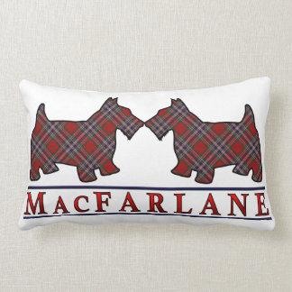 Scottish Clan MacFarlane Tartan Scottie Dogs Lumbar Pillow