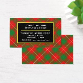 Scottish Clan MacFie Tartan Plaid Business Card