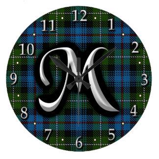 Scottish Clan MacKenzie Letter M Monogram Tartan Large Clock