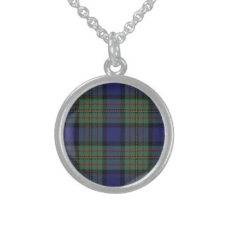 Scottish Clan MacLaren Tartan Plaid Sterling Silver Necklace